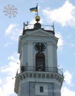 The trumpeter dressed in Ukrainian costume on the clock tower at noon