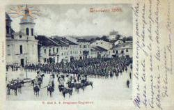 The parade in front of Greek-Catholic church in 1899