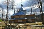 Wooden church in the village of Bubnysche in the Ukrainian Carpathians