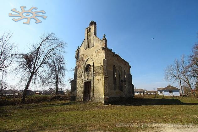 Old and abandoned catholic church in Ilavche, Ukraine