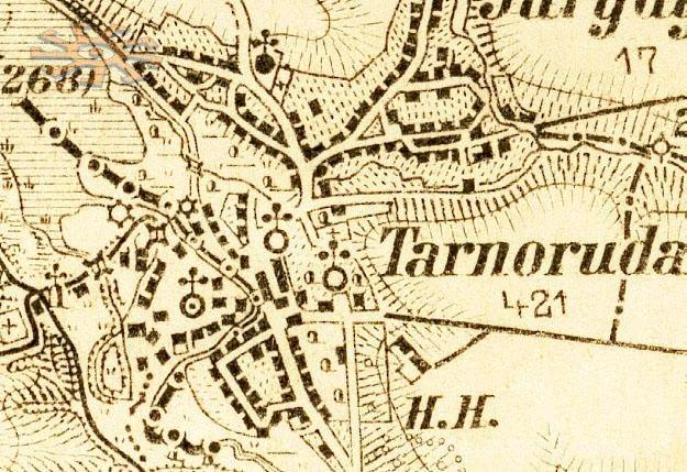 Тарноруда на старій карті.