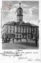 Old picture of the City Hall in Chernivtsy