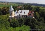 The beautiful old abandoned manor in the village of Pryozerne (Psary), Western Ukraine, aerial view