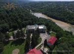 An aerial view of the old palace and castle remnants in the town of Murovani Kurylivtsi in Ukraine